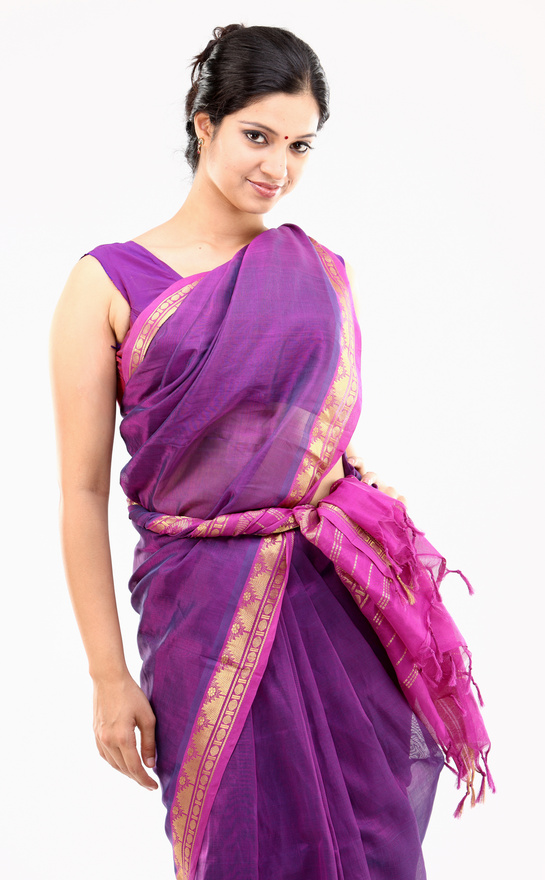 Woman in radiant orchid sari Woman in radiant orchid sari